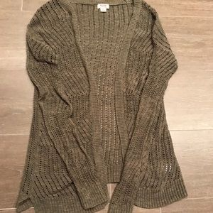 Olive green long sleeve cardigan